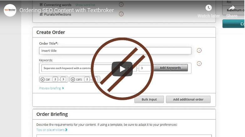 Opções SEO na Textbroker